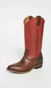NIB FRYE  Billy Stitch Pull On Cowboy Boots  Red Brown Size 10M MSRP $348
