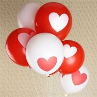 Lot de 6 ballons rouge et blanc avec coeur (latex) - fête, St Valentin, mariage