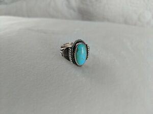 Vintage Sterling Silver Turquoise Southwestern Ornate Design Ring Size 6.5