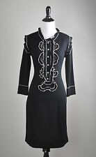 YOANA BARASCHI Original Knitwear $349 Stretch Knit Beaded Trim Dress Size Medium