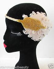 Color Carne Crema Pluma Oro Adorno Capilar Para Flapper Vintage 1920s Diadema