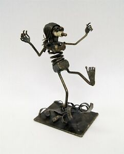 "Ken Moore 1972 ""Surfer Girl"" Welded Folk Art Metal Sculpture Spark Plug C2105"