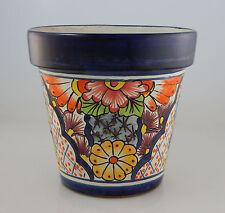 Mexican Ceramic Flower Pot Planter Folk Art Pottery Handmade Talavera # 29