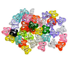 ❤ 50 x Acrylic Bubblegum BUTTERFLY Spacer Beads MIXED 11mm Jewellery Making UK ❤