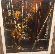 STANLEY VINTAGE ORIGINAL OIL ON CANVAS ABSTRACT SEASCAPE PAINTING