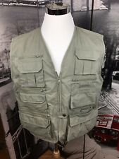 Woolrich Fishing Vest Mens Large 438 Fieldstone Cotton Nylon Blend Green Outdoor