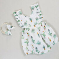 Newborn Infant Baby Girl Cactus Romper Jumpsuit Bodysuit Headband Clothes Outfit