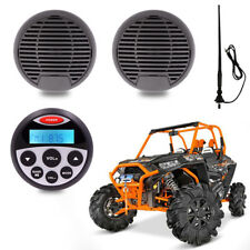 "Gauge Style Waterproof Radio Marine Audio Receiver + 3"" Car Speakers for ATV UTV"