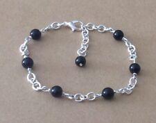 Silver Plated Chain Bracelet Black Onyx Beaded Station