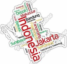 "Indonesia Jakarta Depok Country Map Word Cloud Bumper Vinyl Sticker Decal 5""X4"""
