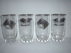 CANDLEWICK Silver STERLING Overlay HORSE RACING Glasses 12oz TUMBLERS 400/19 EX!