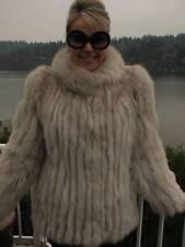 SAGA Blue White FOX Fur Jacket Coat Stroller S #834A GLAM!