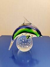 Signed Patricia Faye Dolphin Glass Paperweight