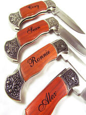 Personalized Engraved Rosewood EDC Pocket Knife Groomsman Hunting Survival Knife