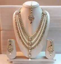 Indian Traditional Wedding Bridal Wear Gold Plated Stunning Pearl Necklace Set