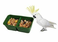 2-in-1 Double Trough Bird Seed Food Feeding Dish Water Feeder Bowl for Parrot.