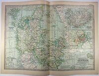 Original 1897 Map of Denmark by The Century Company. Antique
