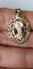 14k yellow white rose Gold mother Virgin Mary oval pendant charm 1.10 inch
