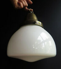 More details for an  original opaline glass refectory pendant lamp with its brass gallery&hook
