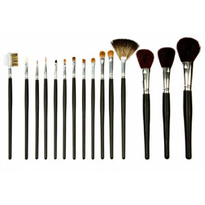 Professional Cosmetic Make Up Brush Set of 15 Pcs Brushes Kit Case Black