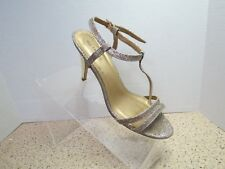 Call It Spring Womens Ankle Strap Silver Glitter Open Toe Heeled Shoes Size 7.5