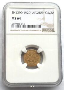 Afghanistan 1299(1920) Amanullah 1/2Amani NGC MS64 Gold Coin,Rare!
