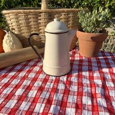 Enamel Tea Pot Kettle Vintage Style Cream and Black Kitchealia Farmhouse Cottage