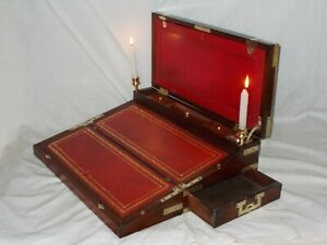 LARGE ANTIQUE REGENCY MAHOGANY BRASS MOUNTED MILITARY CAMPAIGN WRITING SLOPE BOX