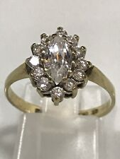 9ct gold Cluster ring marquise Cubic Zirconia Edinburgh 1982 Hallmarked N1/2