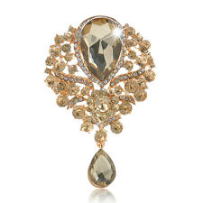 Gorgeous Wedding Flower Floral Tear Large Drop Brooch Pin Crystal Glass Pendant