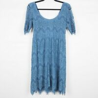 Pins and Needles from Urban Outfitters Crochet Dress Blue Lined Short Sleeve M