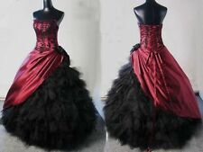 Vintage Burgundy Black Applique Prom Pageant Formal Gown Gothic Wedding Dresses