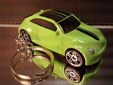 Green 2012 VW Volkswagen Beetle Key Chain Ring Diecast