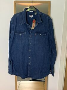 Mens Levi's Denim Shirt Stretch XL Dark Blue / Navy NEW