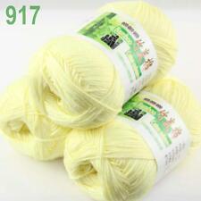 Sale New 3 Skeins x50g/230y Soft Bamboo Cotton Hand Knitting Yarn Lemon 917