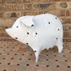 "Rustic 15"" Metal Pig Hog Statue Home Farm Garden Lodge Farmhouse Kitchen Pork"