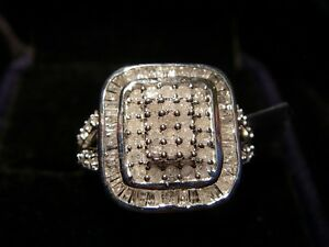 Brand New 1ct Certified Diamond Sterling Silver Ring unisex size T1/2