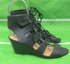 "new ladies black 2.5""Wedge Heel Open Toe lace up Sexy Shoes Size 7"