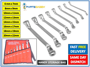 Offset Double Ring Spanner Wrench Set 6mm - 22mm 8pc Metric Spanners Deep #23-45