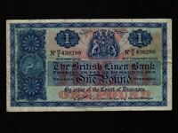 Scotland:P-157d,1 Pound,1954 * The British Linen Bank * VF *