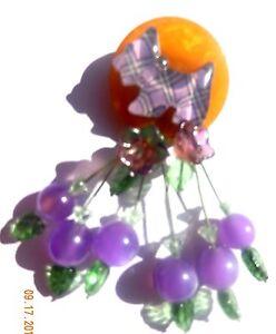 ARTIST Made BROOCH BAKELITE Plaid SCOTTIE & Purple LUCITE CHERRY Dangles Retro
