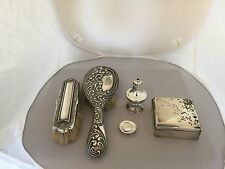 LOVELY LOT OF 5 SOLID SILVER ITEMS  4 WITH CHESTER HALLMARKS
