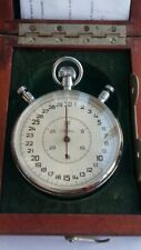 Vintage Original USSR Russian Pocket StopWatch Slava Mechanical With Wooden Box