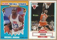 1990 Fleer MICHAEL JORDAN Card #26, All Star Card #5 - 2 Card Lot