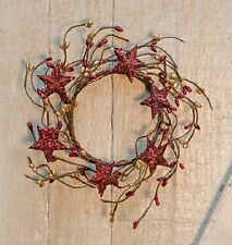 "Pip Berry & Tin Star Wreath Red & Gold Berries Red Glitter Stars 6"" Christmas"