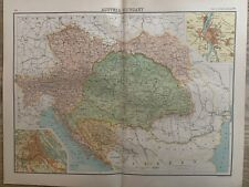 1898 AUSTRIA HUNGARY EMPIRE ANTIQUE COLOUR MAP BY JOHN BARTHOLOMEW 122 YEARS OLD