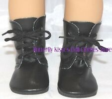 Black Lace Up Tie Boots 18 in Doll Clothes Fits American Girl