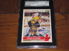 BORJE SALMING AUTOGRAPHED 1992 FUTURE TRENDS CARD-SGC SLAB-CANADA CUP-SWEDEN