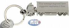 Engraved Lorry/Truck Design and Shape Metal Keyring Boxed Personalised free