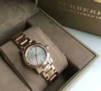 New Burberry Swiss Made Rose Gold Stainless Steel Casual Bracelet Watch BU9228